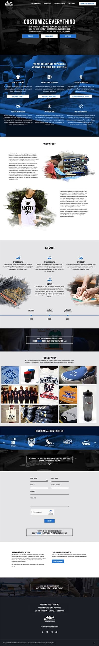 Action Athletic Wear Website design by Coding Bull - Highest rated web design company